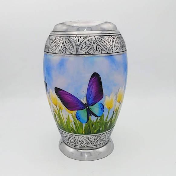 blue purple butterfly urn