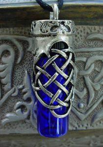 celtic glass vial for ashes