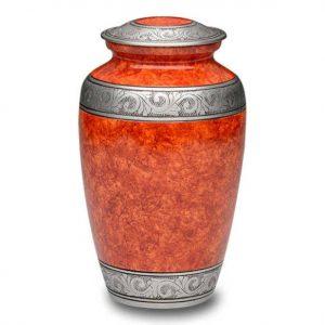 orange metal urn for ashes adult