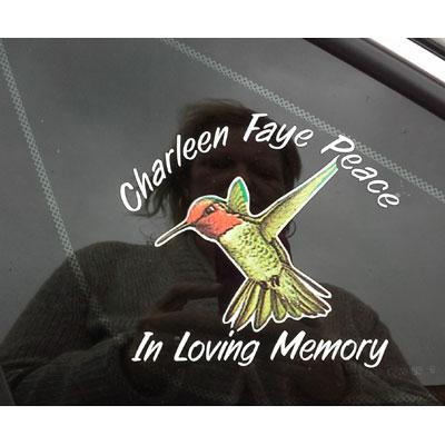 hummingbird memorial decal