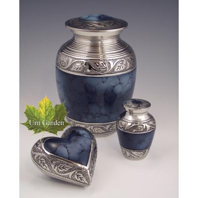 mystic blue cremation urn sets