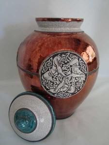 copper raku cremation urn for ashes