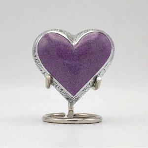 purple lavender heart keepsake urn for ashes