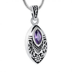 purple teardrop urn pendent cremation jewelry
