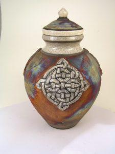 celtic raku cremation urn for ashes