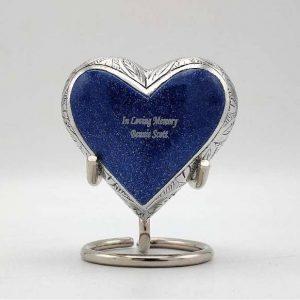 small blue heart keepsake urn