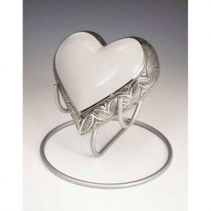 medium white heart urn for ashes