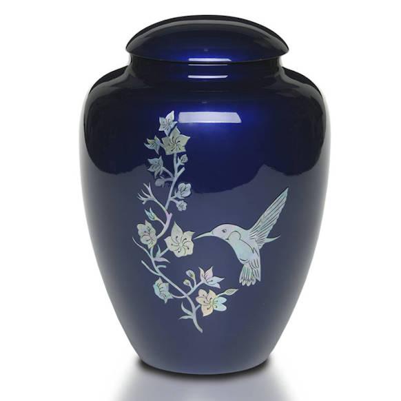 blue hummingbird cremation urn
