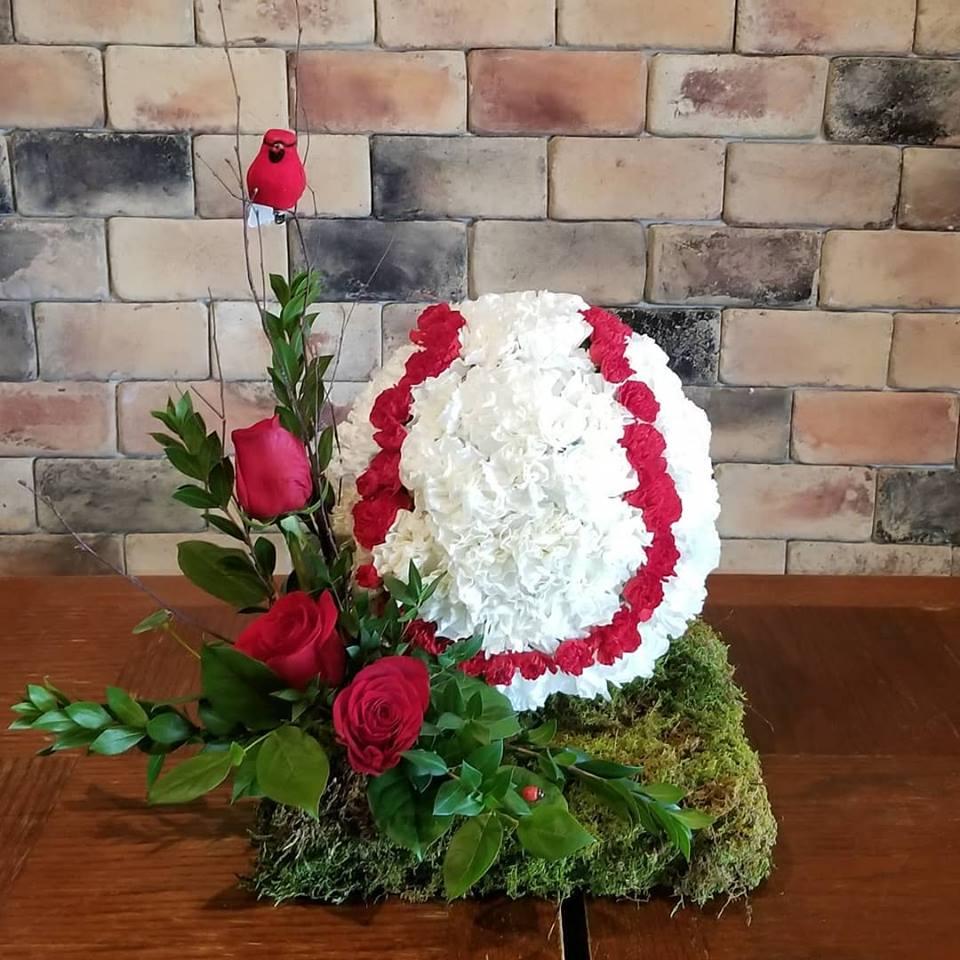 baseball funeral flowers