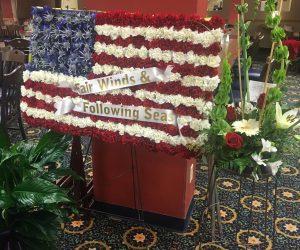 Flag floral funeral arrangement easel