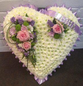 heart shape flower pillow funeral
