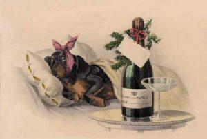 vintage new years postcard dog