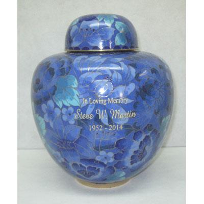 blue urn for ashes, engraved