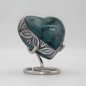 small green heart keepsake urn