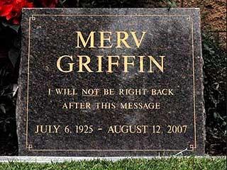 merv griffin head stone