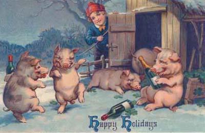dancing pig postcard