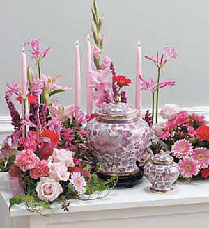cremation urn floral idea