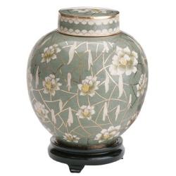 Pear blossom cloisonne funeral urn