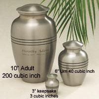 cremation urn volume size
